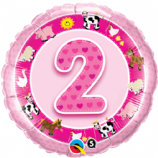 2nd Birthday Farm Animals Pink Foil Balloon